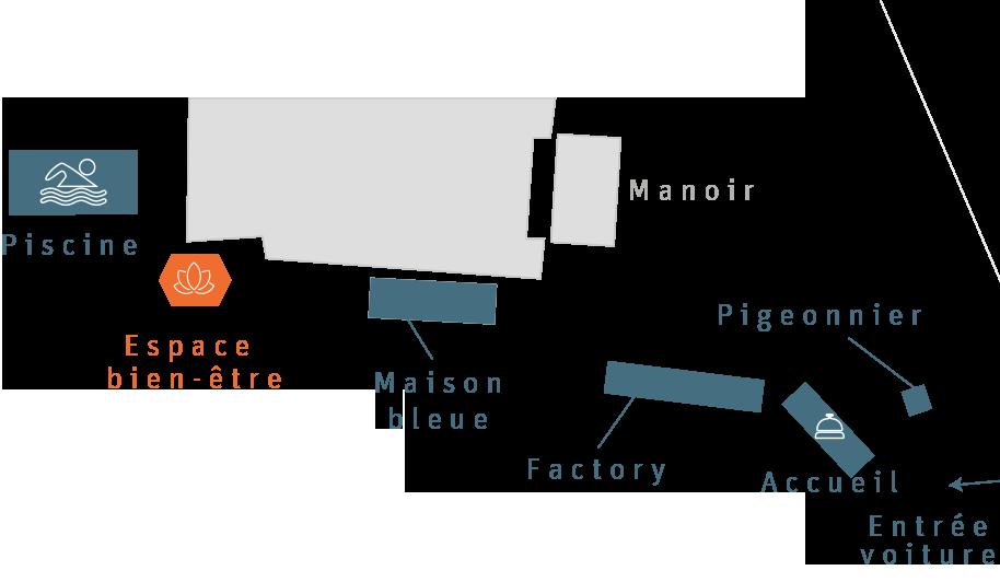 La plan du Clos Grâce avec la localisation de l'espace bien-être