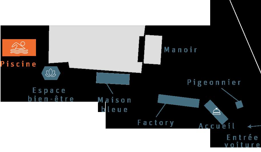 La plan du Clos Grâce avec la localisation de la piscine